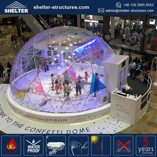 ... Dia.12m Clear Geodome Tent for Shopping Mall Branding Event & Home - Shelter Clear Wedding Tents Supplier - Event Marquees Solutions