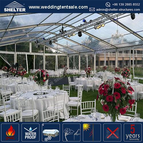 15x30 meters Wedding Tent With Clear Roof and Zipper Doors For Sale
