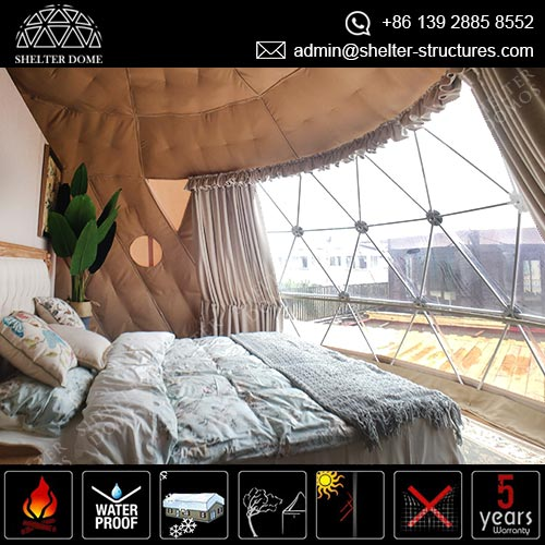 Dia.6m Geodesic Dome Igloo with 1/3 Transparent for Comfortable Glamping Suite